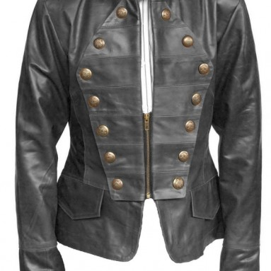 Women Military Style Leather Jacket