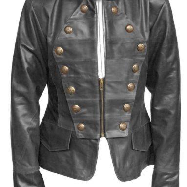 Women Military Style Leather Jacket