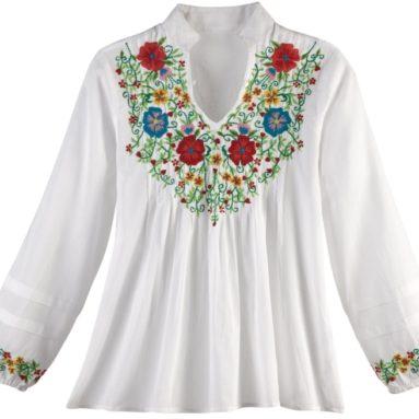 Women's Embroidered Flower Garden Blouse