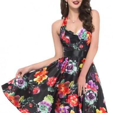Women's Halter Vintage Rockabilly Ball Dress