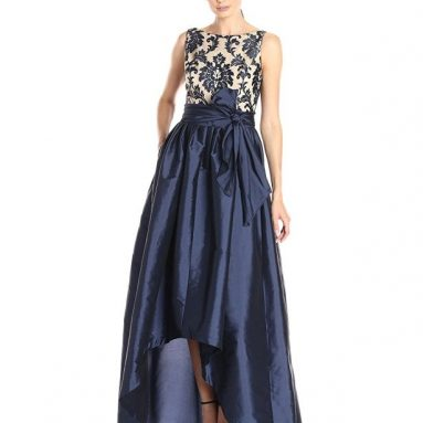 Women's High Low Taffeta Ball Gown with Embroidered Lace Bodice