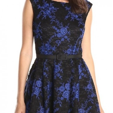 Women's Lace Fit and Flare Dress