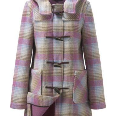Womens Short Checked Duffle Coat