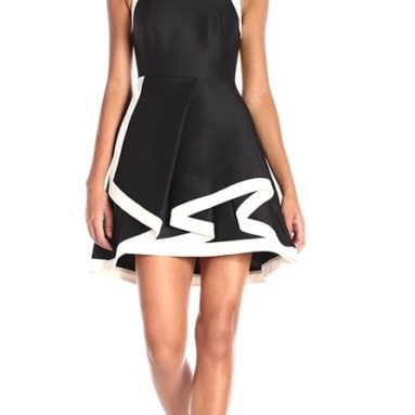 Women's Sleeveless High Neck Structured Dress and Tiered Skirt
