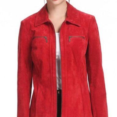 Women's Stacy Zip Front Suede Leather Jacket