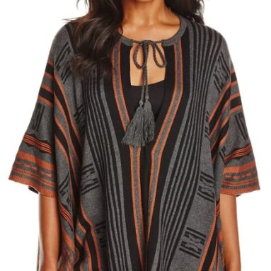 Women's Striped Poncho Sweater