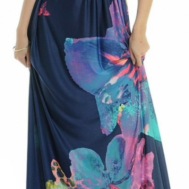 Women's Summer Deep V-Neck Versatile Long Floral Print