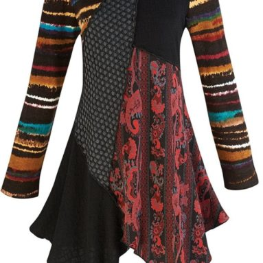 Women's Textured Spice Patchwork Long Sleeve Tunic Top