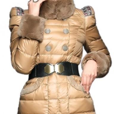 Women's Winter Rex Rabbit Collar Long Down Jacket