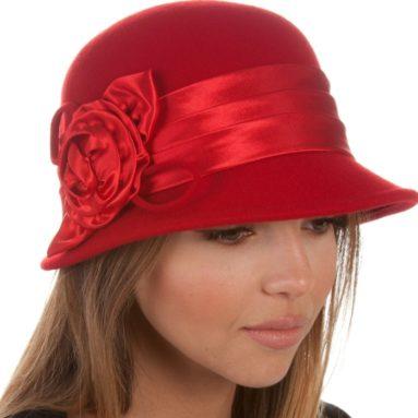 Wool Cloche Bucket Winter Hat with Satin Flower