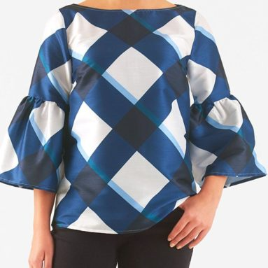 eShakti Women's Bell sleeve check print dupioni blouse